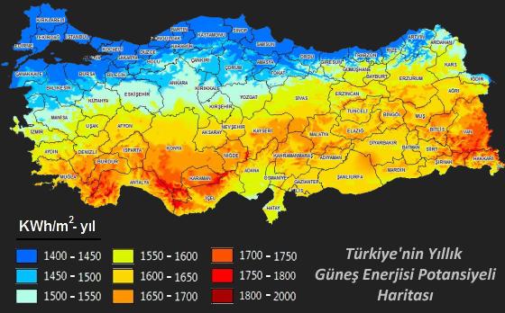 türkiye güneş enerjisi potansiyeli