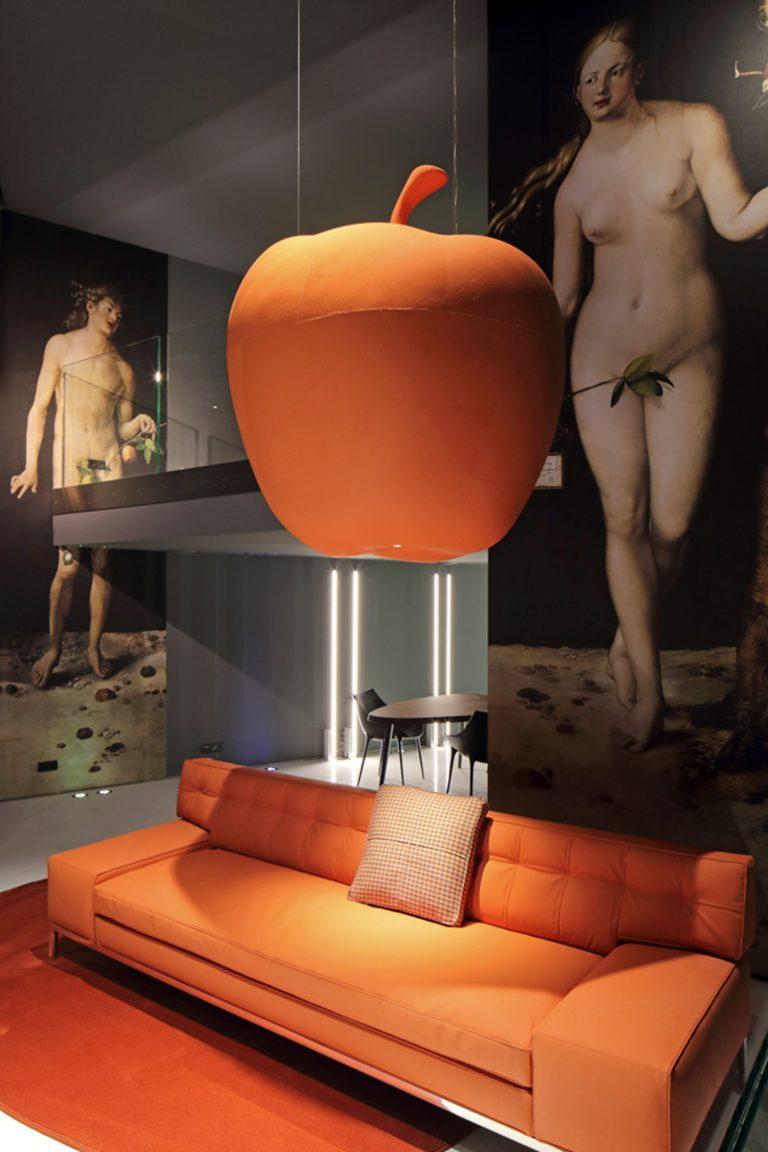 elma tasarımlı vegan kumaşla kaplanan mobilyalar